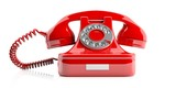 Red old telephone on white background. 3d illustration - 136328023
