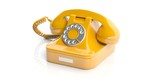 Fototapety Yellow old telephone on white background. 3d illustration