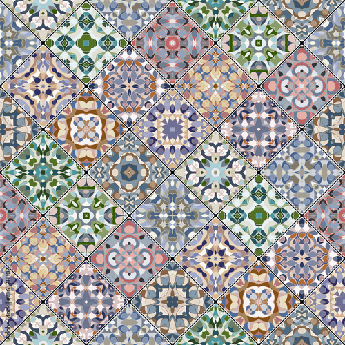Orange, green and blue abstract patterns in the mosaic set. Square scraps in oriental style. Vector illustration. Ideal for printing on fabric or paper.