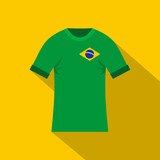 Brazilian yellow and green soccer shirt icon