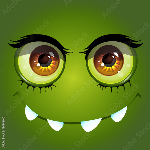 Cartoon anime monster with big toothy smile and long eyelashes Vector Illustration - 136346010