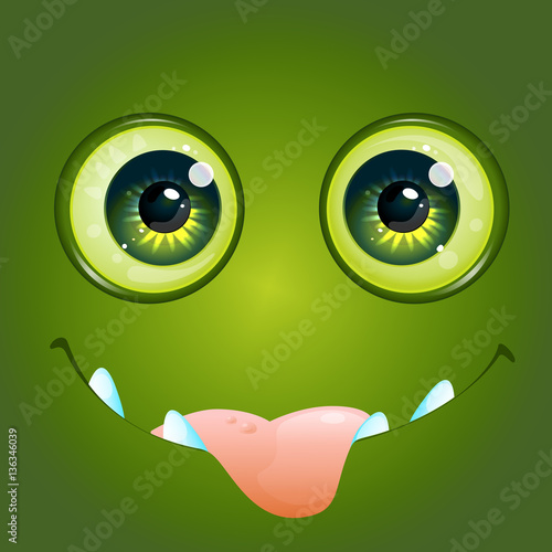 Cartoon anime monster face with big toothy smile and sticking out tongue Vector Illustration - 136346039