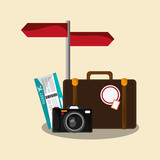 briefcase, camera and photographic camera. travel and tourism concept. colorful design. vector illustration