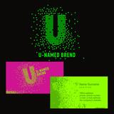 Шаблон фирменного знака U -компании. Корпоративный стиль для компании на букву U: логотип, визитная карточка. Креативный логотип из пикселей, состоит из частиц буква U