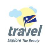 Marshall Islands Travel Country Flag Logo. Explore the The Beauty lettering with Sun and Clouds and creative waving flag. travel company logo design - vector illustration