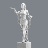 Marble Sculpture of a Beautiful Young Woman with Elegant Folds of Clothing. 3D rendering - 136347491