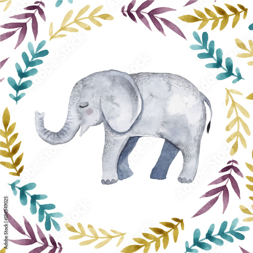Cute illustration with baby elephant . - 136349025