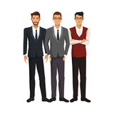 businessmen wearing executive clothes over white background. colorful design. vector illustration