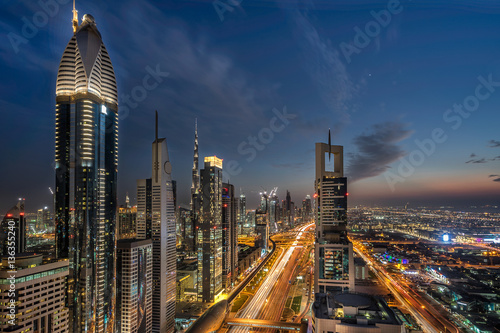 Looking down Sheik Zayed Road in Dubai Poster