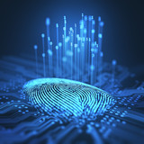 Fingerprint integrated in a printed circuit, releasing binary codes.