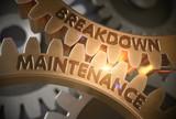 Breakdown Maintenance on Golden Gears. 3D Illustration.