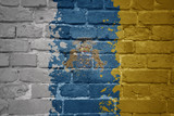 painted national flag of canary islands on a brick wall