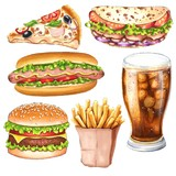 Set of colorful sketches fast food illustration, isolated on white background.