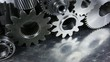 Titanium ball-bearings moving with large steel gears engineering parts