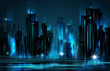 Night city skyline , vector illustration - 136371699