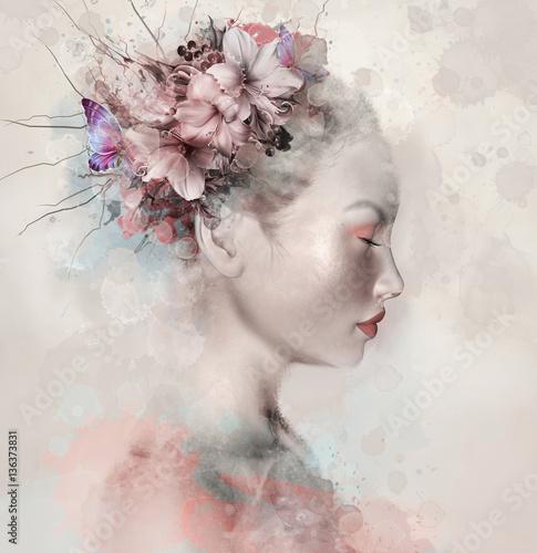 akwarela-portret-kobiety-z-liliami-w-niej
