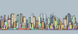 City panorama, hand drawn cityscape, vector drawing architecture illustration - 136374071