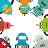 Electronic Robots Card Icon  Illustration Design Wall Sticker