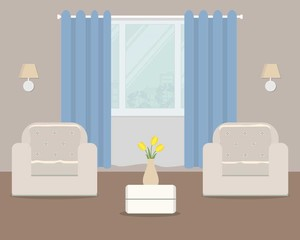 Living room with white armchairs and blue curtain. There is also a vase with yellow tulips on the table in the picture. Vector flat illustration.