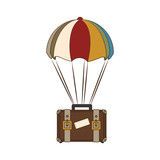 suitcase travel with parachute isolated icon vector illustration design