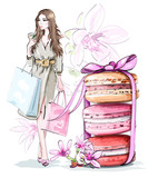Fototapety Beautiful sketch set: fashion woman with shopping bags, sweet cute macarons with bow and flowers. Vector illustration.