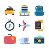 set of color flat icons for travel - 136384606