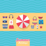 set of flat idesign elements for beach vacation - 136384620