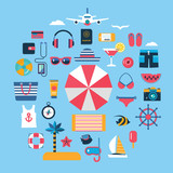 set of flat vector icons for summer travel - 136384629
