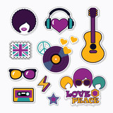 Trendy musical patches, stickers and pins - 136384676
