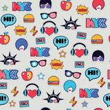 trendy pop art seamless american pattern with patches and stickers - 136384694