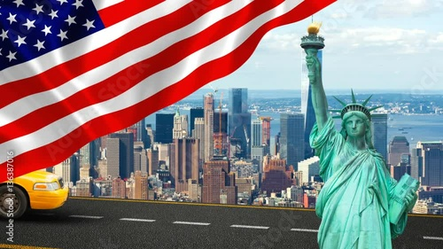 Foto op Plexiglas New York TAXI New York City with Liberty Statue ad yellow cab, the big apple, symbol of freedom.