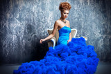 fluffy blue dress