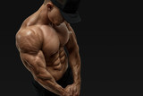 Athlete strong abs showing