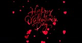 red sparkle glitter happy valentine day word shape with red heats shape rise flowing on black background with alpha channel matte, holiday festive valentine day event love concept