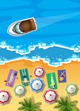 Ocean scene with boat and people sunbathing