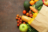 Grocery food shopping bag - vegetables, fruits, bread and pasta