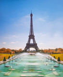 Eiffel Tower and Trocadero fountains in Paris