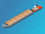 Isometric Barge on a River. Very large ship. Containerized trade, liquid bulk and dry bulk shipping. International shipping. - 136406427