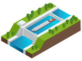 Isometric Barge on a River. Very large ship. Containerized trade, liquid bulk and dry bulk shipping. International shipping. - 136407254