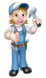 Cartoon Woman Carpenter Holding Hammer