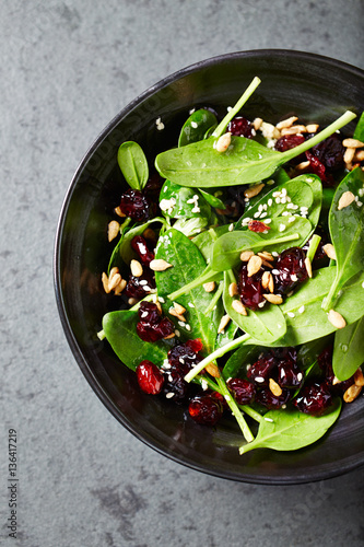 Spinach salad with dried cranberries and lemon-honey dressing Poster