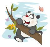 Illustration of a Cute Panda and Butterflies. Cartoon Character