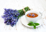 Cup of tea and lavender flowers - 136420468