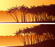 Horizontal wide banners of palm trees on beach.