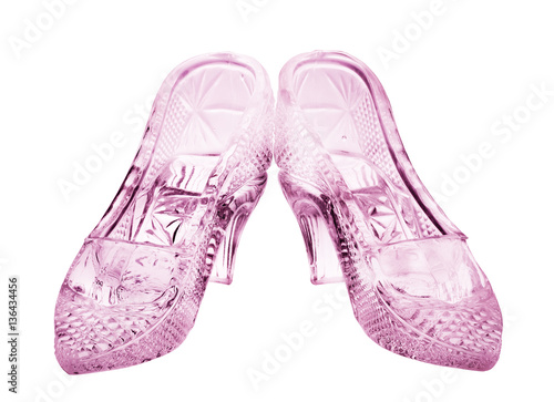 Plakat couple of isolated woman glass pink shoes