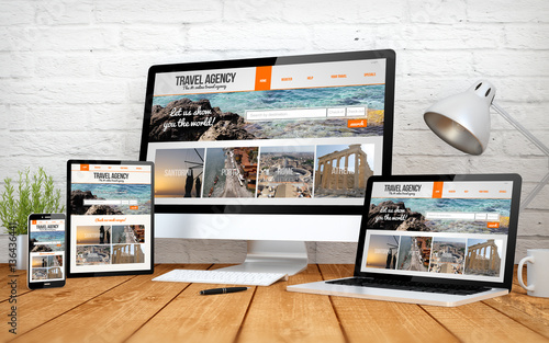 travel agency onlinewebsite screen multidevices