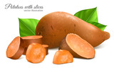 Sweet potatoes with slices and leaves