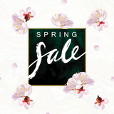Spring Sale hand written lettering. Blossom mood illustration. Flayer vector template. Textured plum tree flowers and petals on marble background. Sabby gold and green emerald velvet texture.
