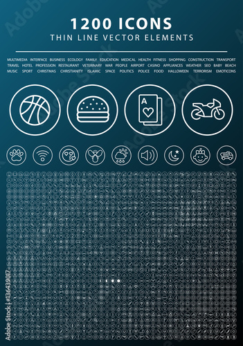 Set of 1200 Universal and Standard White Icons on Circular Buttons on Dark Background ( Isolated Elements )