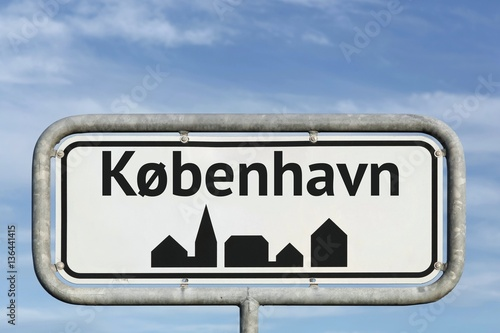 Poster Copenhagen road sign in Denmark